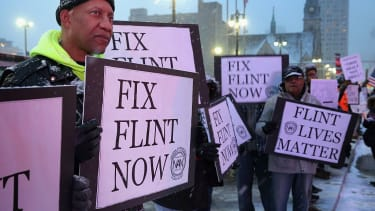 Protesters demand clean water in Flint Michigan.