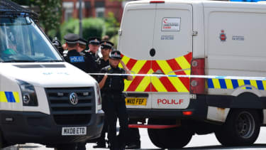 Police investigate the Manchester bombing