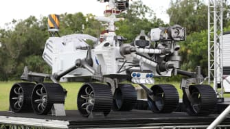 A full size model of the Perseverance rover.