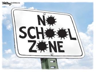 Editorial Cartoon U.S. no school zone coronavirus
