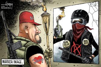 Political Cartoon U.S. maga antifa
