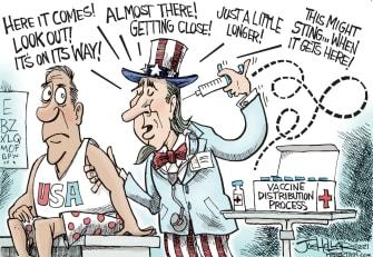 Editorial Cartoon U.S. COVID vaccine delay