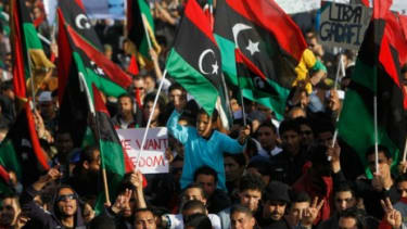 A crowd of Libyan rebel supporters in Benghazi: The United States and other Western governments have officially declared that Libya's rebels are the country's legitimate rulers.