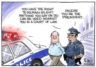 Political Cartoon U.S. Trump miranda rights impeachment trial