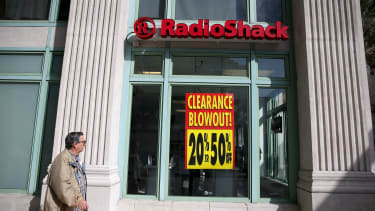 A RadioShack store advertises a sale