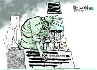 Editorial Cartoon U.S. Statue of Liberty coronavirus ventilator