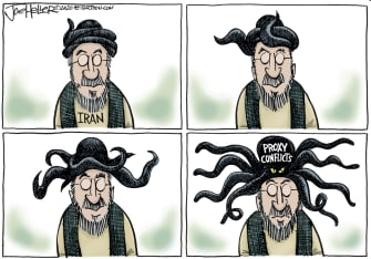 Political Cartoon U.S. Trump Iran Proxy Conflicts