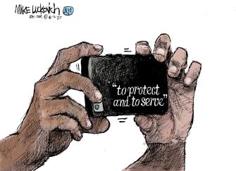 Editorial Cartoon U.S. George Floyd police brutality video