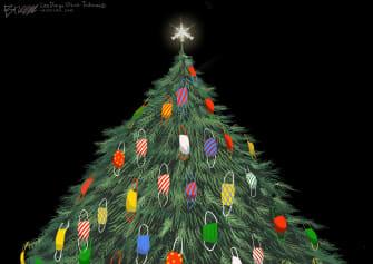 Editorial Cartoon U.S. Christmas Tree covid