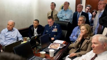 Secretary of State Hillary Clinton attributes her emotional look (captured as she watched the Osama bin Laden mission Sunday) to springtime allergies.