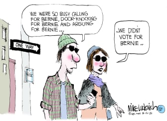 Political Cartoon U.S. Sanders millennials no show voting enthusiasm