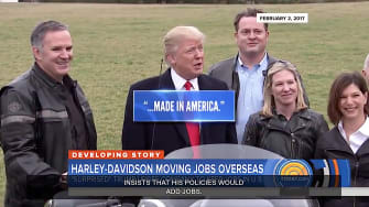 Trump thanks Harley-Davidson for making motorcycles in America