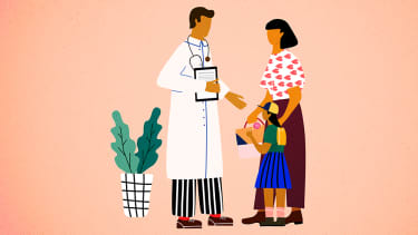 A doctor and child.
