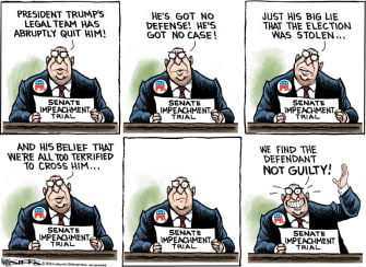 Political Cartoon U.S. trump impeachment gop
