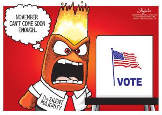 Political Cartoon U.S. Inside Out Anger silent majority 2020