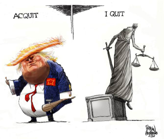 Political Cartoon U.S. Trump Lady Justice Senate impeachment acquittal quitting