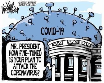Political Cartoon U.S. no plan White House Trump coronavirus