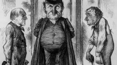 An editorial cartoon from 1878 portrays Benjamin Disraeli as a headmaster reprimanding the head boys for mud-slinging.