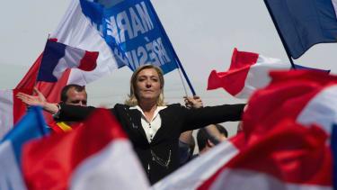 Marine Le Pen at a speech in Paris