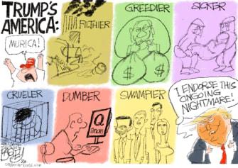 Political Cartoon U.S. Trump America 2020 nightmare endorsement