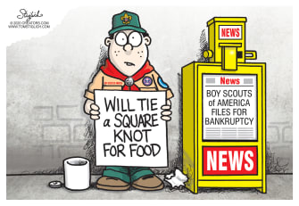 Editorial Cartoon U.S. Boy Scouts of America Roger Mosby troops badges food bankruptcy