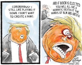 Political Cartoon U.S. Trump COVID panic