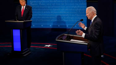 Democratic presidential candidate former Vice President Joe Biden answers a question as President Donald Trump listens during the second and final presidential debate at Belmont University on