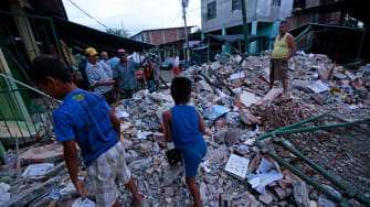 Rubble from Ecuador earthquake