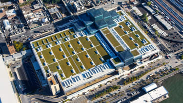 An aerial view of the Javits center.