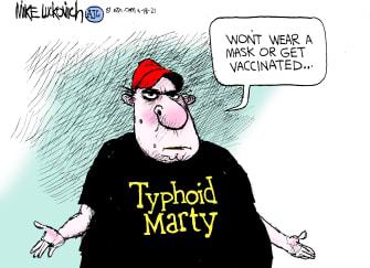 Editorial Cartoon U.S. covid anti vaxxers masks typhoid mary