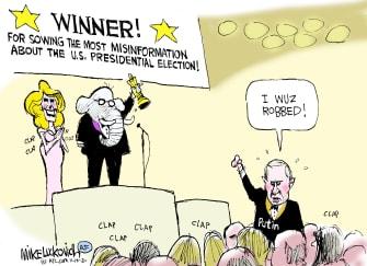 Political Cartoon U.S. Trump GOP election Putin