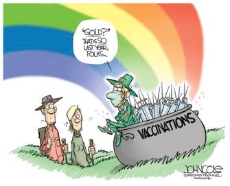 Editorial Cartoon U.S. covid vaccine leprechaun st patricks day