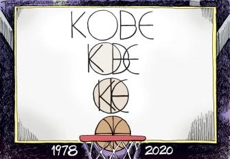 Editorial Cartoon U.S. Kobe RIP initials basketball hoop