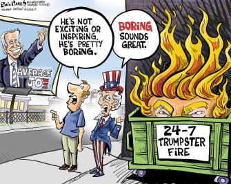 Political Cartoon U.S. Trump dumpster fire Biden 2020