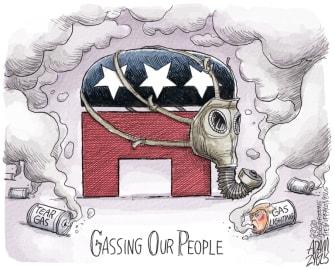Political Cartoon U.S. Trump gassing protesters GOP