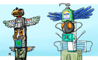 Editorial Cartoon U.S. totem pole coronavirus