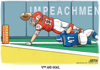 Political Cartoon U.S. Impeachement witness vs acquittal football