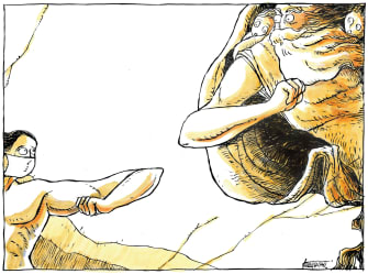 Editorial Cartoon World Creation of Adam elbow touch coronavirus