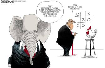 Political Cartoon U.S. Trump Iran War GOP