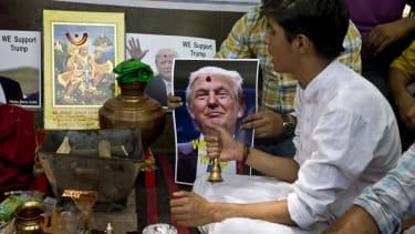Hindu Sena members conduct rituals on Trump's behalf.