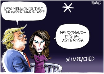 Political Cartoon U.S. Trump Melania Christmas Asterisk