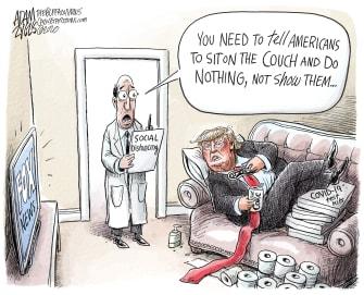 Political Cartoon U.S. Trump does nothing Fox News coronavirus