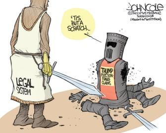 Political Cartoon U.S. Trump legal losses election Monty Python
