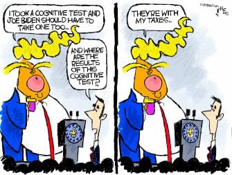 Political Cartoon U.S. Trump taxes cognitive test