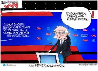 Political Cartoon U.S. Bernie Sanders Elizabeth Warren CNN democratic debate duplicity