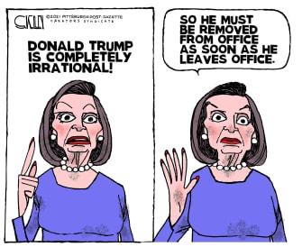 Political Cartoon U.S. Pelosi Trump impeachment