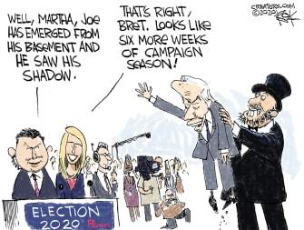 Political Cartoon U.S. Biden 2020 groundhogs day