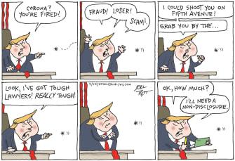 Political Cartoon U.S. Trump Coronavirus deal-making threats scam fraud non-disclosure