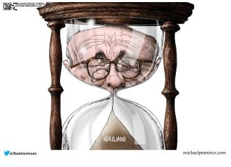 Political Cartoon U.S. Rudy Giuliani hourglass