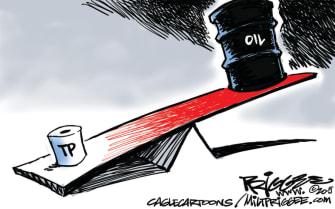 Editorial Cartoon U.S. toilet paper oil price crash